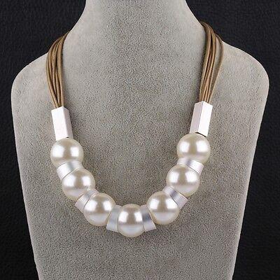 (Pearl Imitation Silver Metal Brown Cord Adjustable Size L88)