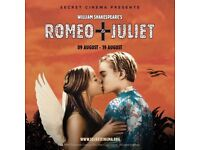 Secret Cinema Tickets for sale- Thurs 16th August, Romeo and Juliet £55