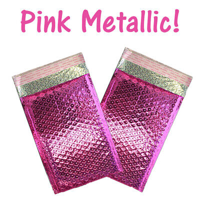 4x8 Pink Metallic Bubble Mailers Padded Envelope Shipping Mailing Envelopes