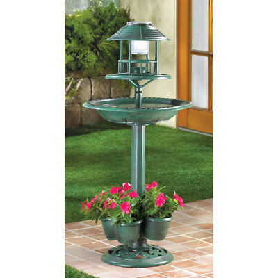 3 in1 SOLAR LED light plastic bird bath Bird feeder plant stand flower planter ~