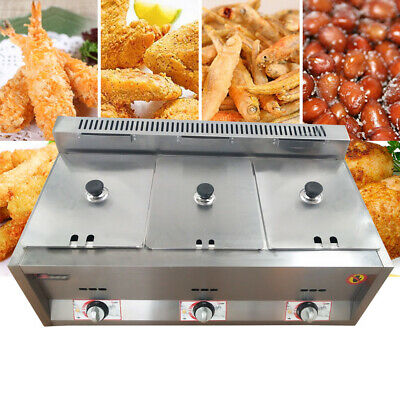 18l 3 Pan Commercial Stainless Steel Countertop Gas Fryer Ngpropane Gas Fryers