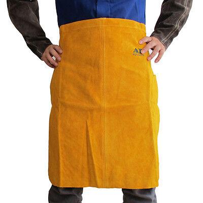 Ap-6024 Golden Heat Resistant Cowhide Leather Welding Bbq Bib Waist Apron