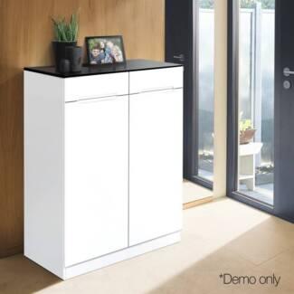 High Gloss Shoe Cabinet Rack  Black U0026 White