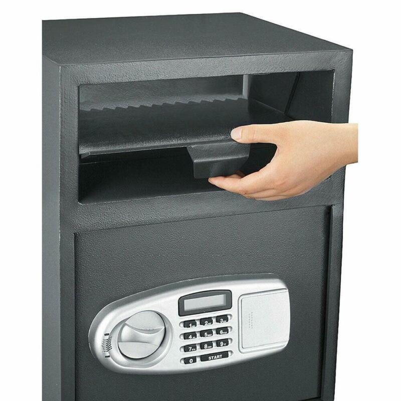 Modern Safe Box Depository Drop Deposit Front Load Cash Money Cabinet Slot Lock