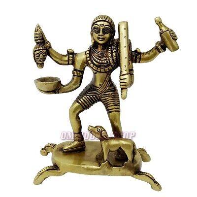 Batuk Bhairav Idol in Brass - 4.75 inch Lord Kal Bhairawa Statue Murti Decor