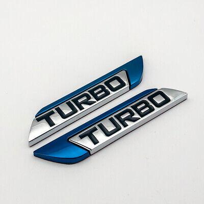 Pair Blue Turbo Metal Side Badge Decal Chrome Fender V6 V8 Engine Emblem Sticker