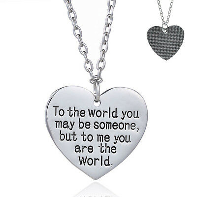 Christmas Gift for Mom Wife You are My World Heart Necklace Girlfriend Nice Gift ()