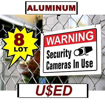 8 Used Metal Warning Video Home Security Cameras In Use 10x14 Aluminum Yard Sign