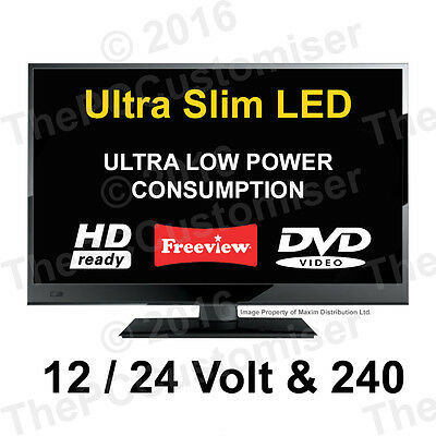 "20"" 12V HD Digital Ultra Slim LED TV DVD. 12 VOLT, Caravan Boat Marine, 24 V HGV"