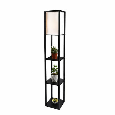 Wood Shelf Rout Lamp Linen Shade Light Storage Organizer Living Room Black Home