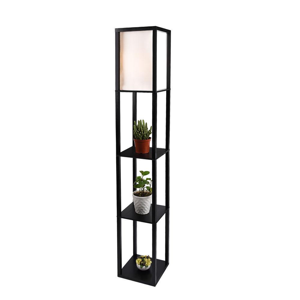 2x Modern Wood Shelf Floor Lamp Linen Shade Light Storage Li