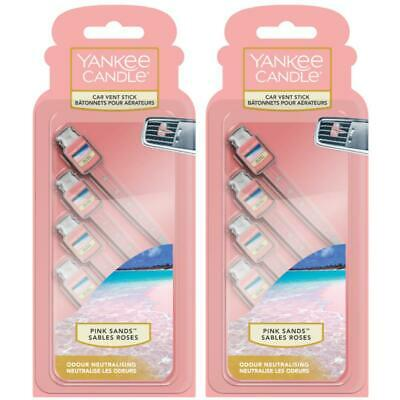 8 x Yankee Candle Car Vent Sticks, car Air Fresheners, Fresh Pink Sands Scented
