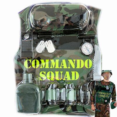 Boys Child Army Soldier Costume Camo Military Kit Play set Helmet Vest Compass