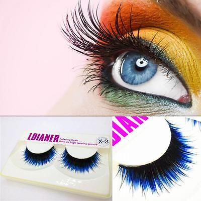 1pair  Thick Long Makeup Tool Eye Lashes Extension Blue-black False Eyelashes (Blue Eyelashes)