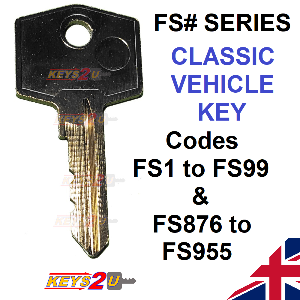 Car Parts - Replacement Spare FS Series Classic Car Vehicle Key cut to code FS01 to FS99