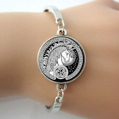 - Celtic Silver Plated Unicorn Black White and Silver Bracelet