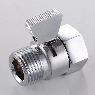 Silber Duschkopf Absperrventil Messing mit Metallgriff, Chrom poliert (Duschkopf Messing Poliert)