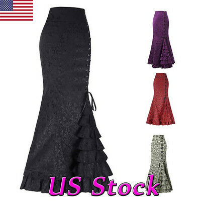 Women Gothic Victorian Steampunk Skirt Vintage Lace Up Maxi Mermaid Ruffle Dress