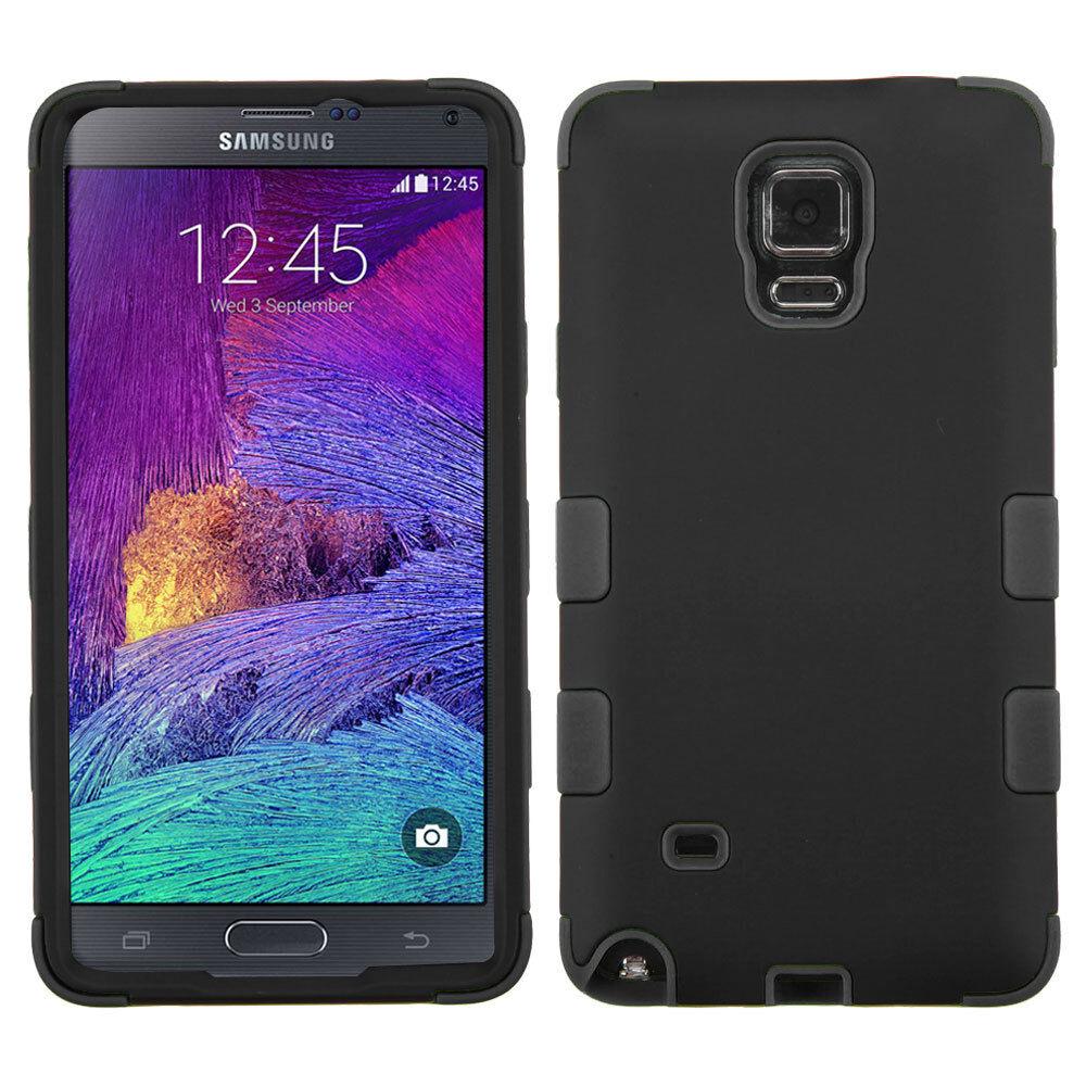 Купить MYBAT Galaxy Note 4 - For Samsung Galaxy Note 4 - HARD TPU GUMMY RUBBER HYBRID CASE COVER BLACK ARMOR