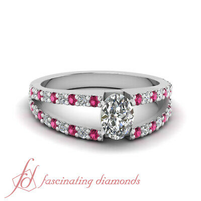 1.30 Carat Oval Shaped Diamond And Pink Sapphire Ring In Platinum GIA Certified