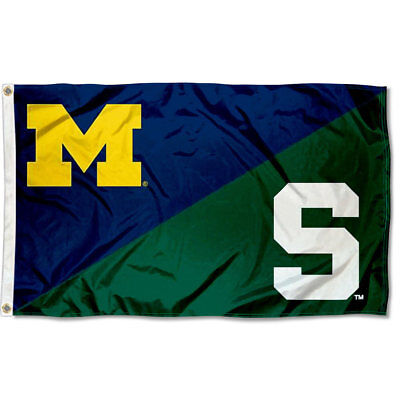 Michigan vs. Michigan State House Divided 3x5 Flag and Banner