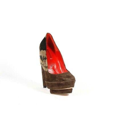 $800 Cesare Paciotti Womens Shoes Brown Suede Platform Pumps w/ -