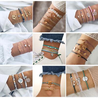 Multi-Layer String Bracelet Set Stackable Adjustable Beads Bracelet  - Multi Circle Bracelet