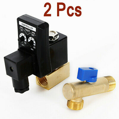 2pcs Ac110v 12 Electronic Timed 2 Way Air Compressor Gas Tank Auto Drain Valve