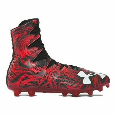 New Mens Under Armour Highlight LUX MC Lacrosse Cleats Black/Red Size 10