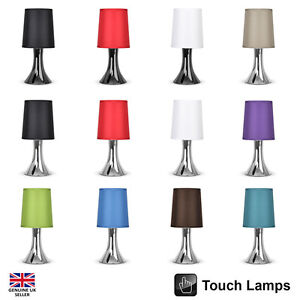Single pair modern black chrome touch bedside table lamps lights home lamp ebay - Black touch lamps bedside ...