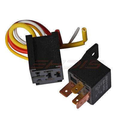 1 Pcs Car Relay 4pin Dc 12v 80a Normally Open Spst With Relay Socket Plug 4 Wire