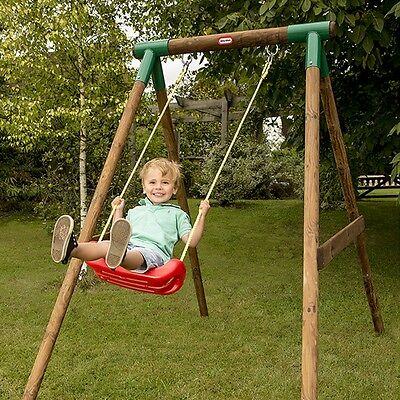 Little Tikes Milano Single Wooden Swing, Outdoor Garden Wood Swing Set Frame
