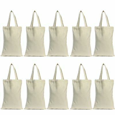 Lot 10pcs Cotton Canvas Grocery Shopping Shoulder Bag Tote Eco Friendly Reusable