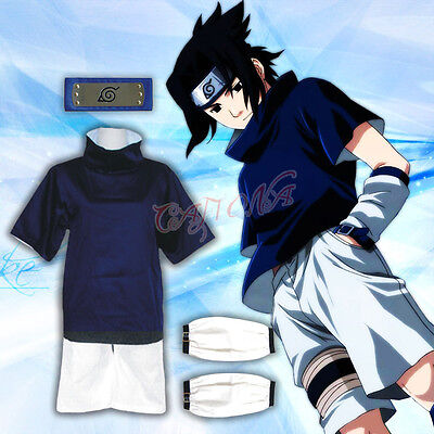 Cafiona Naruto Uchiha Sasuke Cosplay Costume Loose Blue Outfits and Headband](Sasuke Costumes)