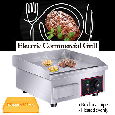 US 1500W 110V BBQ Electric Countertop Griddle Flat Commercial Restaurant Grill ()