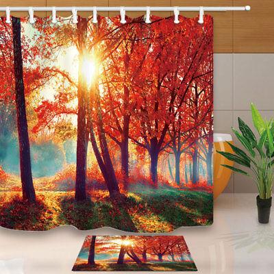 Fall Bathroom Decor (Fall scene Trees and Leaves Shower Curtain Bathroom Decor & 12hooks)