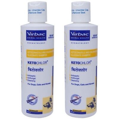 Lot of 2 Virbac KetoChlor Shampoo 200ml  6.7 Oz For Dogs, Cats & Horses