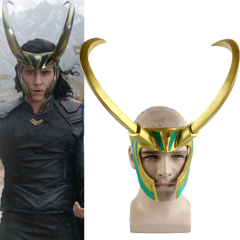 Movie Thor 3 Ragnarok Loki Laufeyson PVC Cosplay Costumes Mask Helmet Halloween