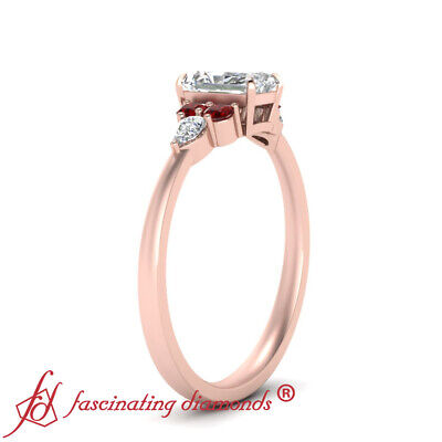 3/4 Carat Radiant Cut D-Color Diamond And Ruby Gemstone 7 Stone Engagement Ring 2