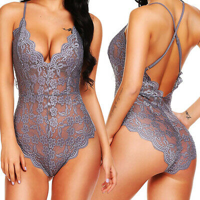 Women's Sexy Lingerie Teddy Lace Bodysuit Underwear One-piece Mini Sleepwear US