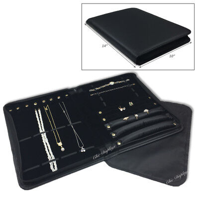 Jewelry Combination Folder Black Leatherette Travelling Case Showcase Carry Case