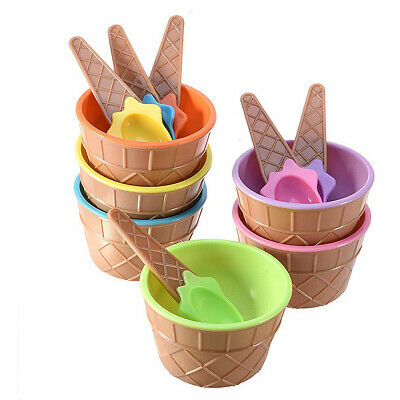 Children Plastic Ice Cream Bowls Spoons Set Durable Ice Cream Cup Dessert Bowl - Plastic Ice Cream Bowls