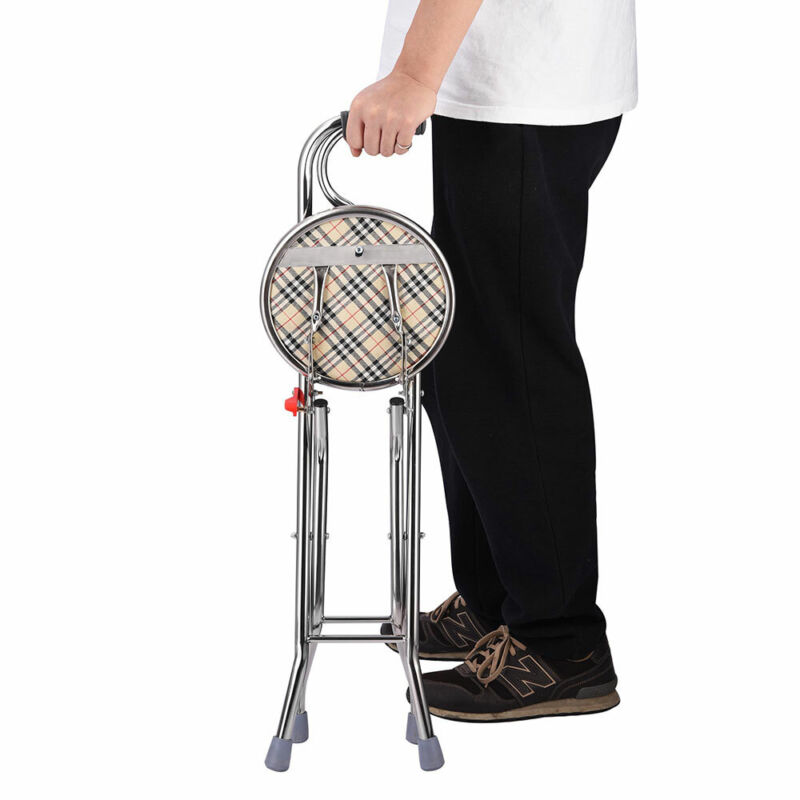 Medical Walking Stick w/ Seat Folding Chair Portable Cane Travel Eldely Care Aid