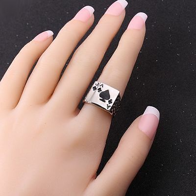 Unique Casino White Card Game Men Gift Enamel Ring Ace Of Spades Jewelry Poker