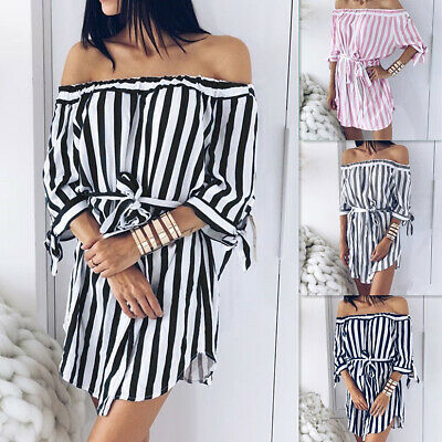 ✅Women Off Shoulder Striped Shirt Mini Dress Summer Casual Belted Sundress USA