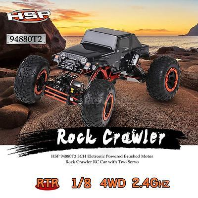 HSP 94880T2 1/8 2.4Ghz 3CH 4WD Brushed Motor RTR Rock Crawler RC Car US L8Y6