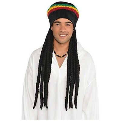 Buffalo Soldier Rasta Hat With Dreads Costume Accessory - Wig Adults Mens Fancy ()