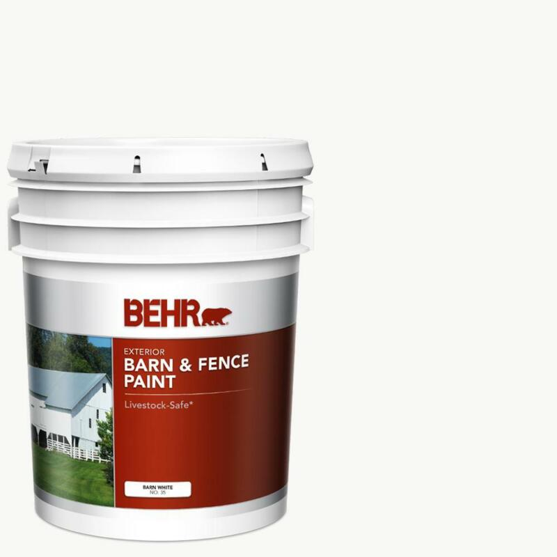 5 gal White Exterior Oil-Latex Barn & Fence Paint Resists Mildew Livestock Safe