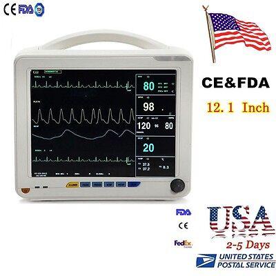Usa Big 12.1 Patient Monitor Nibp Spo2 Ecg Temp Resp Pr 6 Parameters Medical