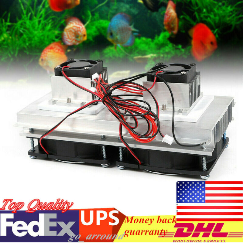 12V Double Fan Cooler Thermoelectric Peltier Refrigeration Cooling System Kit US